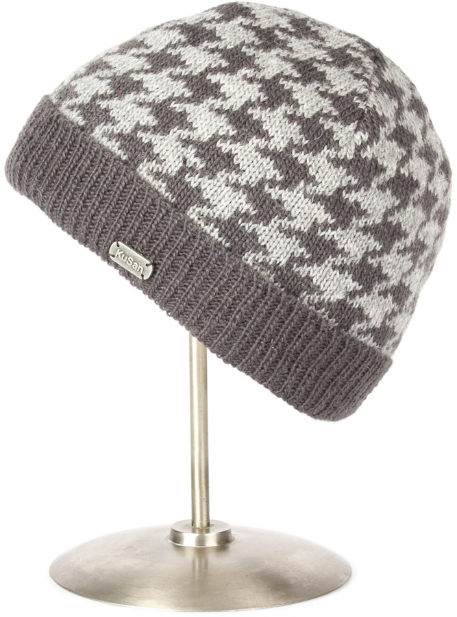 Kusan Dog Tooth Turn Up Ski/snowboard Beanie, One Size, Charcoal/Grey