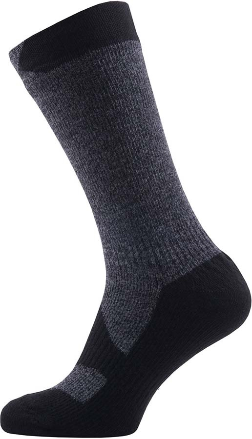 SealSkinz Walking Thin Mid Waterproof Socks, S Black/Grey