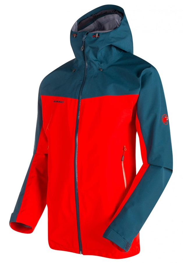 Mammut Crater Jacket Men's Gore-Tex Hooded Shell, XL Spicy/Orion