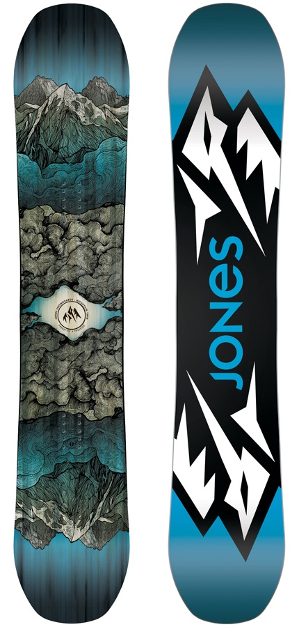 Jones Mountain Twin Hybrid Camber Snowboard, 158cm Wide 2019