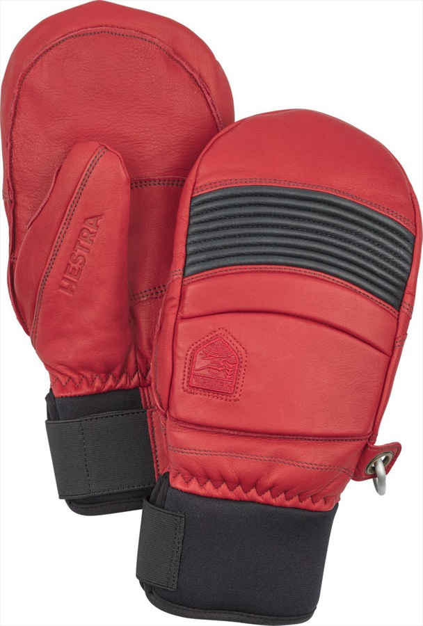 Hestra Leather Fall Line Ski/Snowboard Mitts, L, Red/Grey