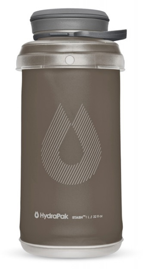 HydraPak Stash Bottle Collapsible Water Bottle, 1L Mammoth Grey