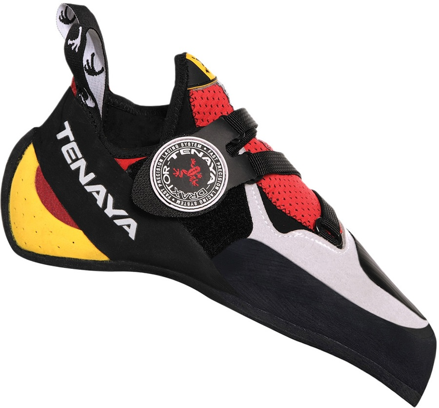 Tenaya Iati Rock Climbing Shoe: UK 7 | EU 40.7, Red/Grey/Yellow