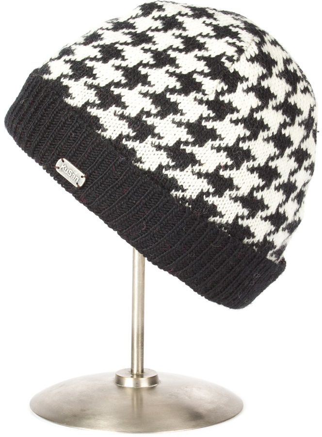 Kusan Dog Tooth Turn Up Ski/snowboard Beanie, One Size, Black/White