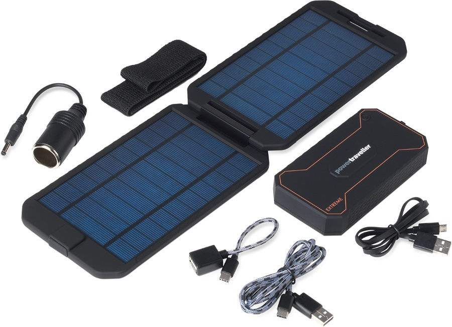 PowerTraveller Extreme Battery Pack & Solar Charger, Black