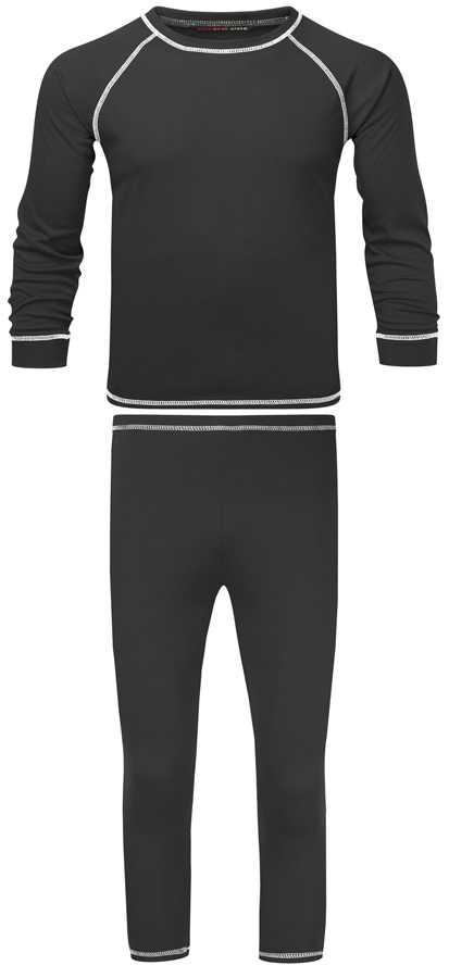 Manbi Junior Supatherm Thermal Set, 7-8 Years Black