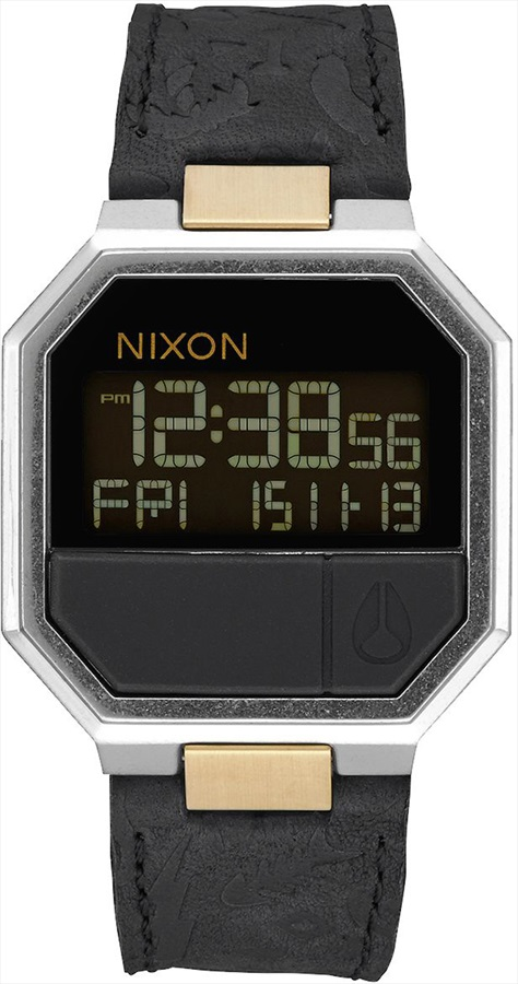 Nixon Re-Run Leather Men's Digital Wrist Watch, Black/Brass
