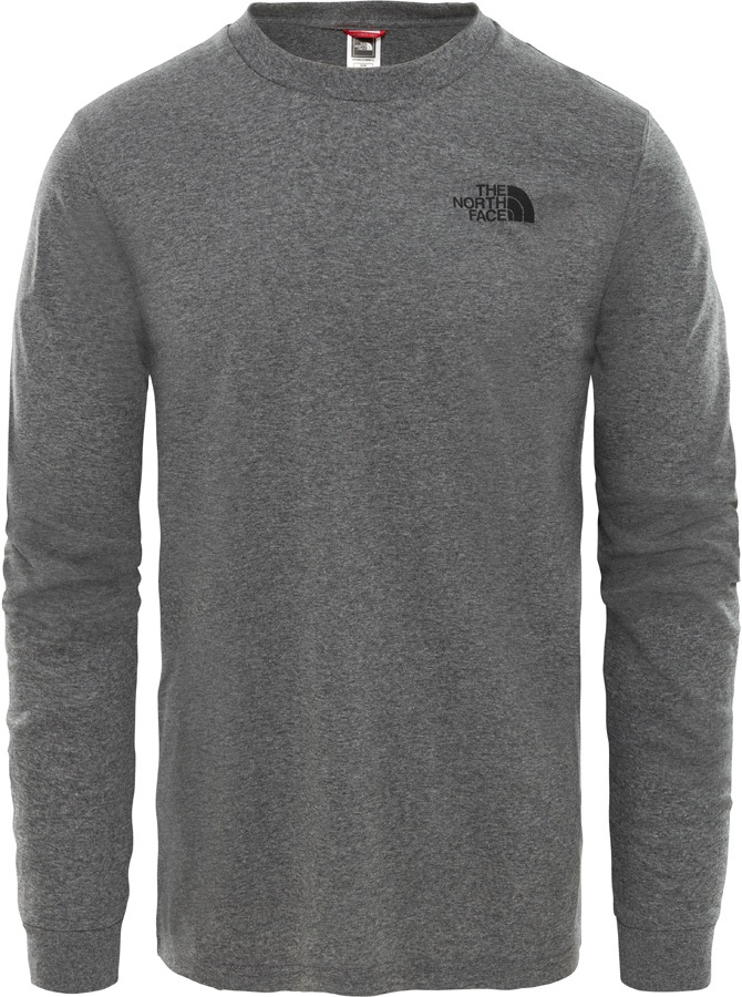 The North Face Simple Dome Tee Long Sleeve T-Shirt, L Grey Heather