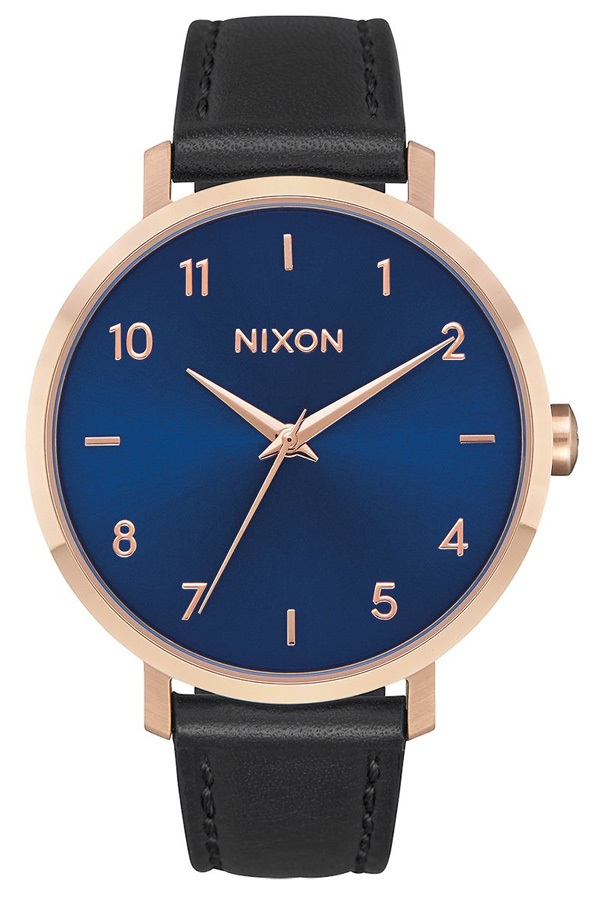 Nixon Arrow Leather Women's Watch, Rose Gold/Indigo/Black