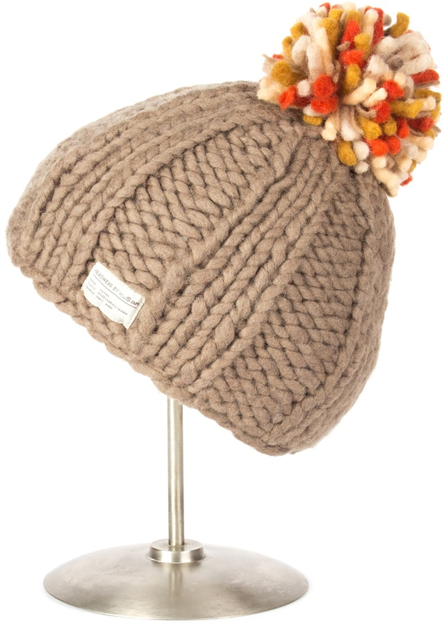 Kusan Thick Yarn Ribbed Winter Bobble Hat, Taupe/Orange