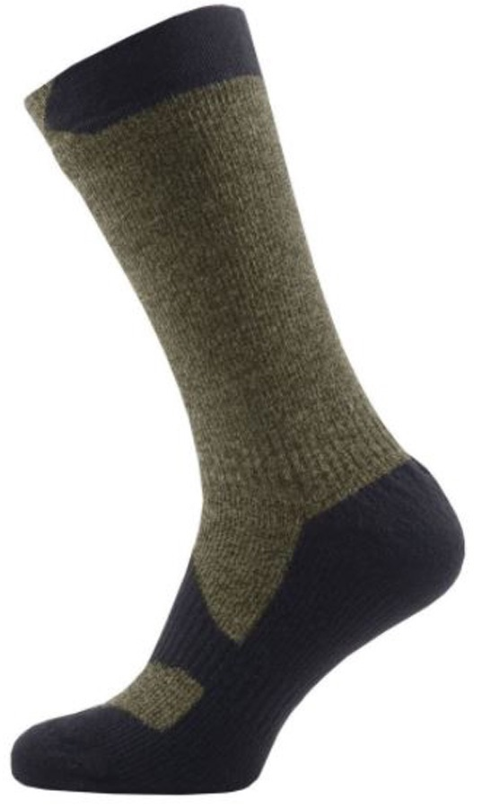 SealSkinz Walking Thin Mid Waterproof Socks, S Olive Marl/Charcoal