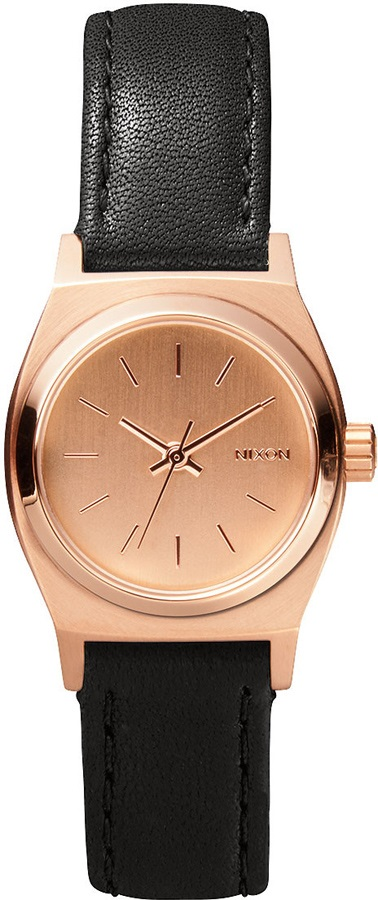 Nixon Small Time Teller Leather Women's Watch, All Rose Gold/Black
