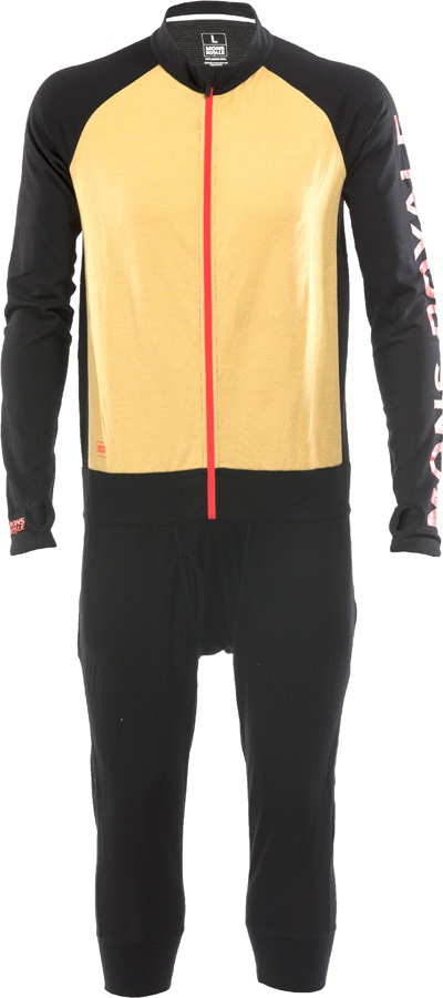 Mons Royale Supermons 3/4 Geo Merino Thermal One-Piece, L Black/Desert