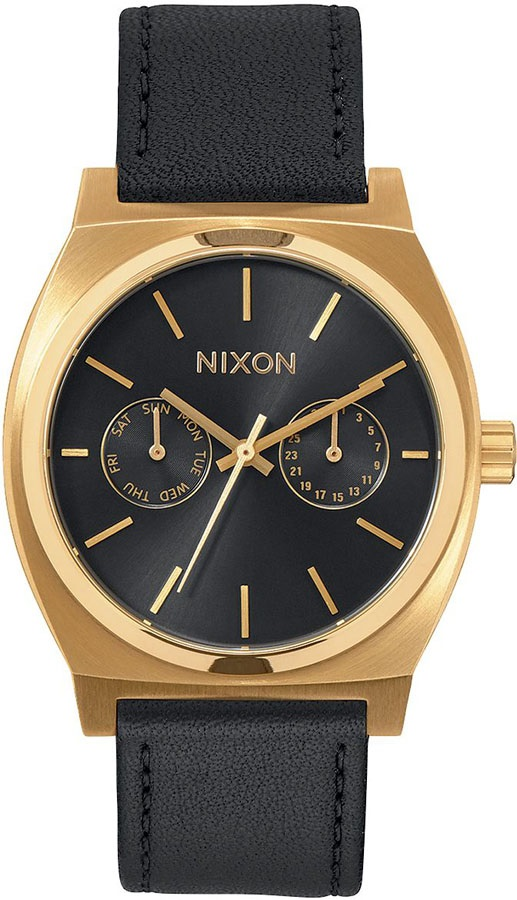 Nixon Time Teller Deluxe Leather Men's Watch Gold/Black Sunray