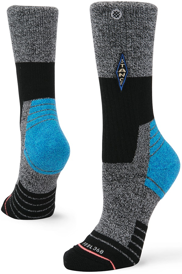Stance Womens Klamath Hike Crew Walking/Hiking Socks, S Black