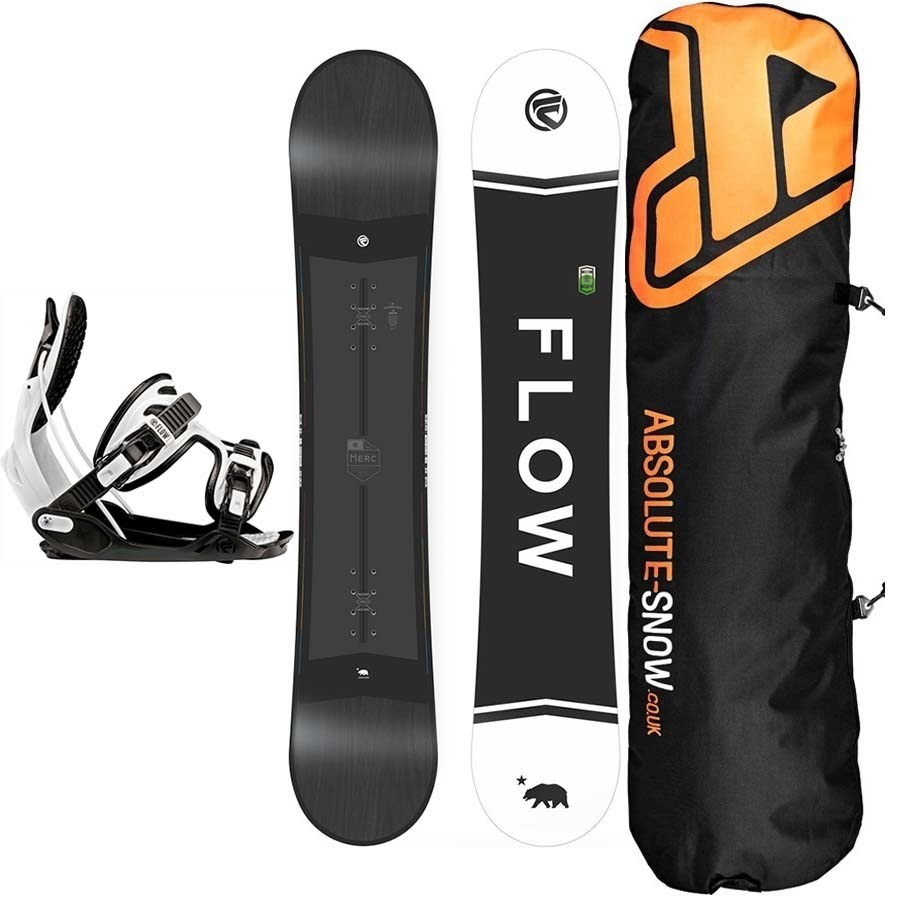 Flow Package Deal, 150cm Merc Snowboard + Large Alpha Bindings + Bag