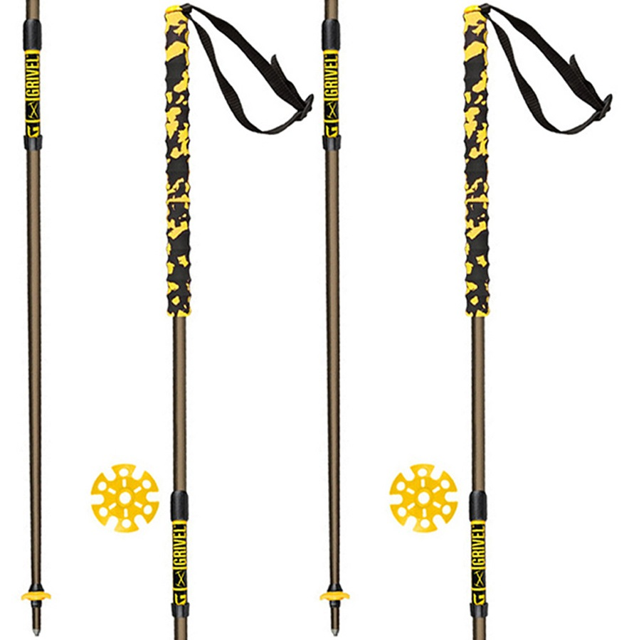 Grivel Trail 2 Knee System Folding Trekking Poles, 122cm Black/Yellow
