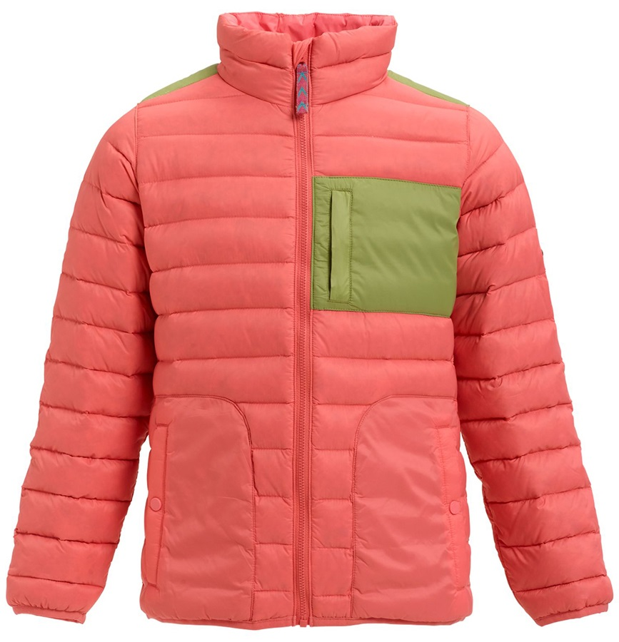 Burton Girls Evergreen Down Jacket, M Georgia Peach/Mosstone