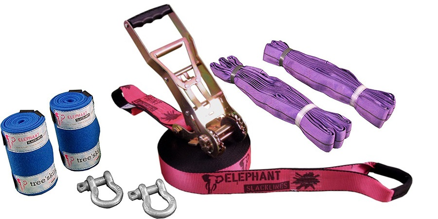 Elephant Slacklines Freak Flash'line Slackline Full Set, 15m Pink