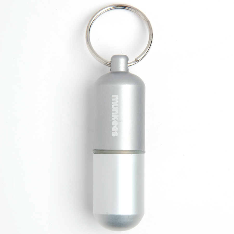 Munkees Waterproof Capsule Keyring/Bison Tube Geocache, Large Silver