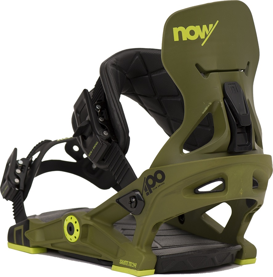 NOW IPO Snowboard Bindings, Large, Army Green, 2017