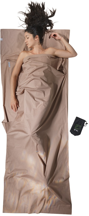 Cocoon TravelSheet Organic Cotton Sleeping Bag Liner, 220x90cm Earth