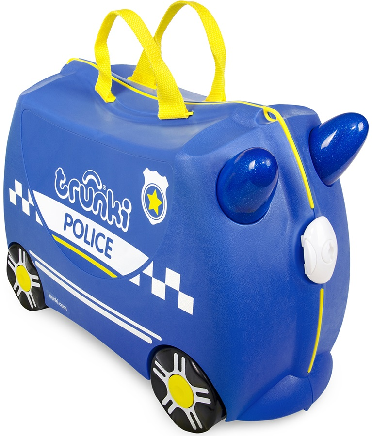 Trunki Percy The Police Car Kid's Wheeled Hand Luggage, 18L Blue