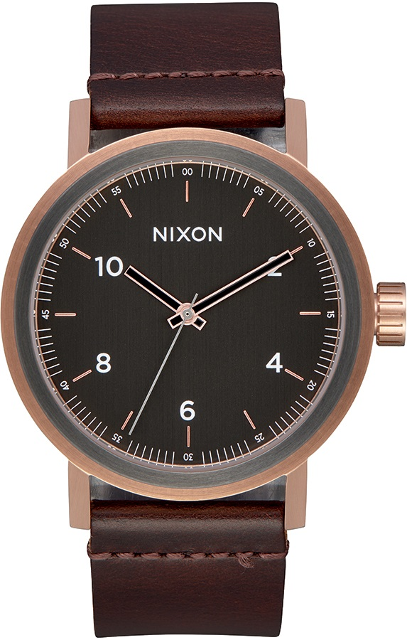 Nixon Stark Leather Men's Watch, Rose Gold/Gunmetal/Brown