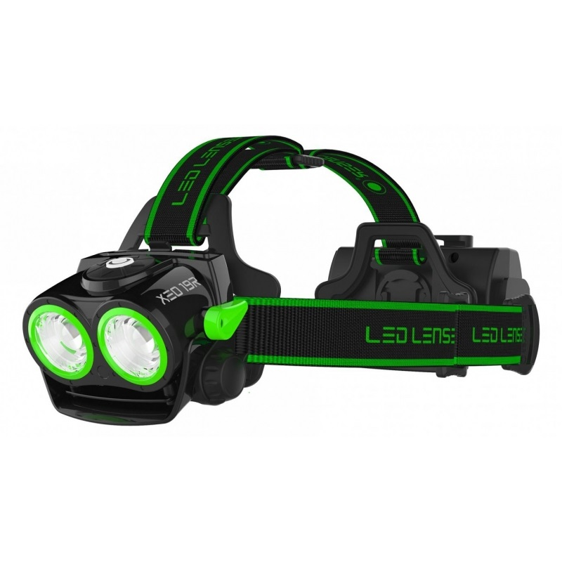 Led Lenser XEO19R Headlamp IPX6 Rechargeable Head Torch, Black/ Green