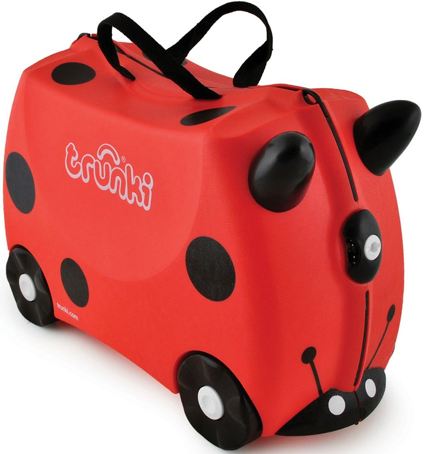 Trunki Harley Ladybird Kid's Wheeled Hand Luggage, 18L Red/Black