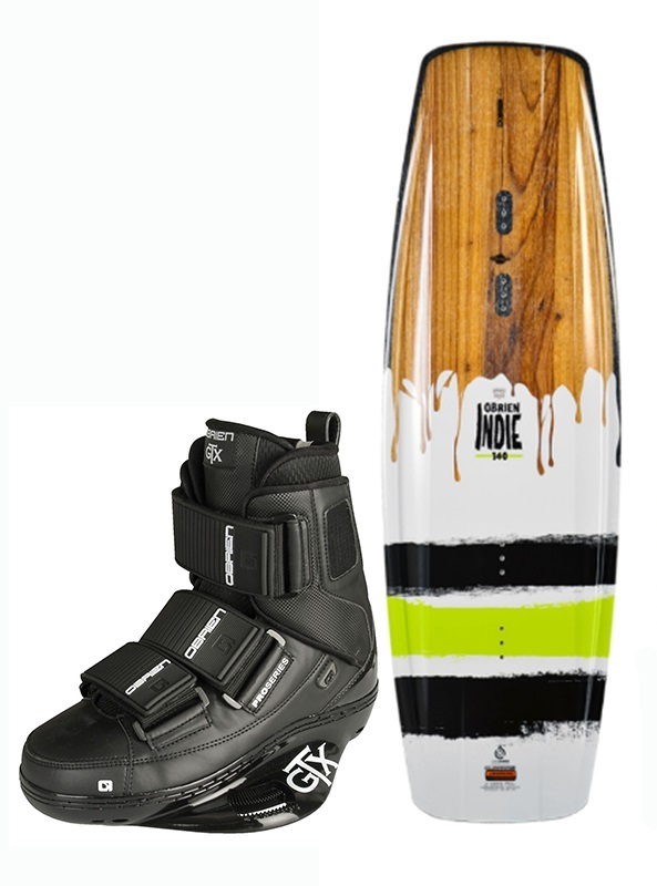 O'Brien Indie | GTX 2017 Wakeboard Package, 136| UK 5-7 Black 2017