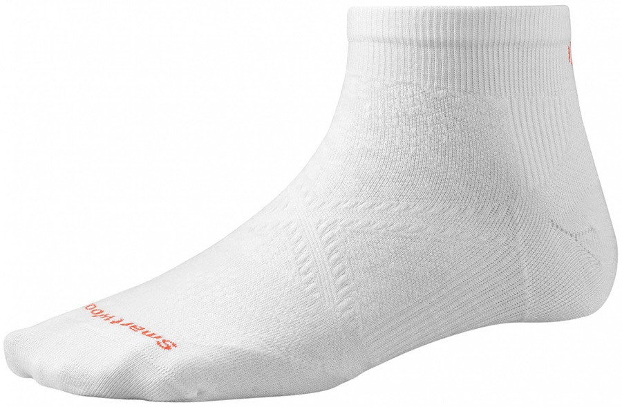 Smartwool PhD Run Ultra Light Low Cut Running Socks, 2-4.5 White