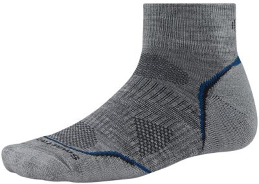 Smartwool PhD Outdoor Light Mini Hiking/Walking Socks 8-10.5 Grey/Blue