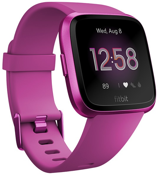 FitBit Versa Lite Heart Rate & Fitness Smartwatch, Mulberry/Aluminium