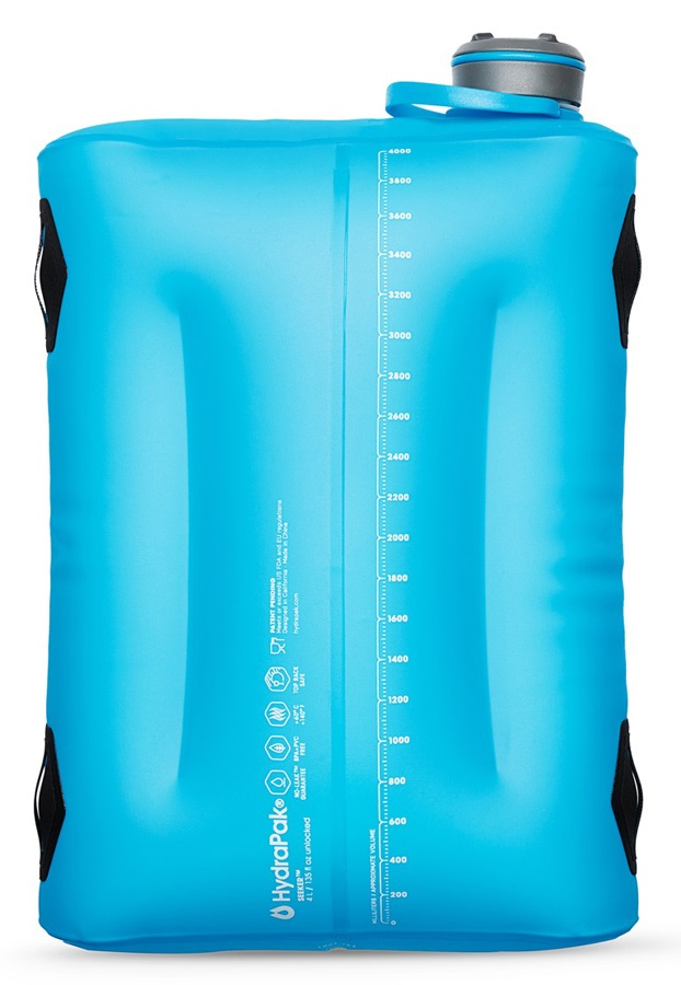HydraPak Seeker Hydration Reservoir Collapsible Water Carrier, 4L Blue