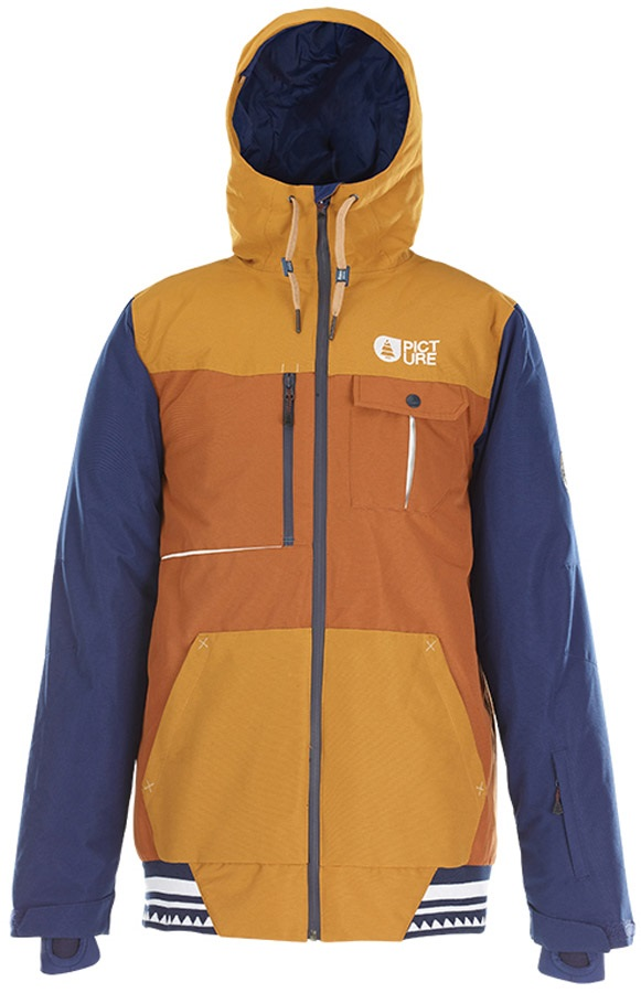 Picture Panel Ski/Snowboard Jacket, L Brown