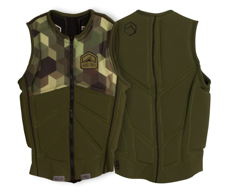 Liquid Force Z Cardigan Zip Wakeboard Impact Vest, M Army Green