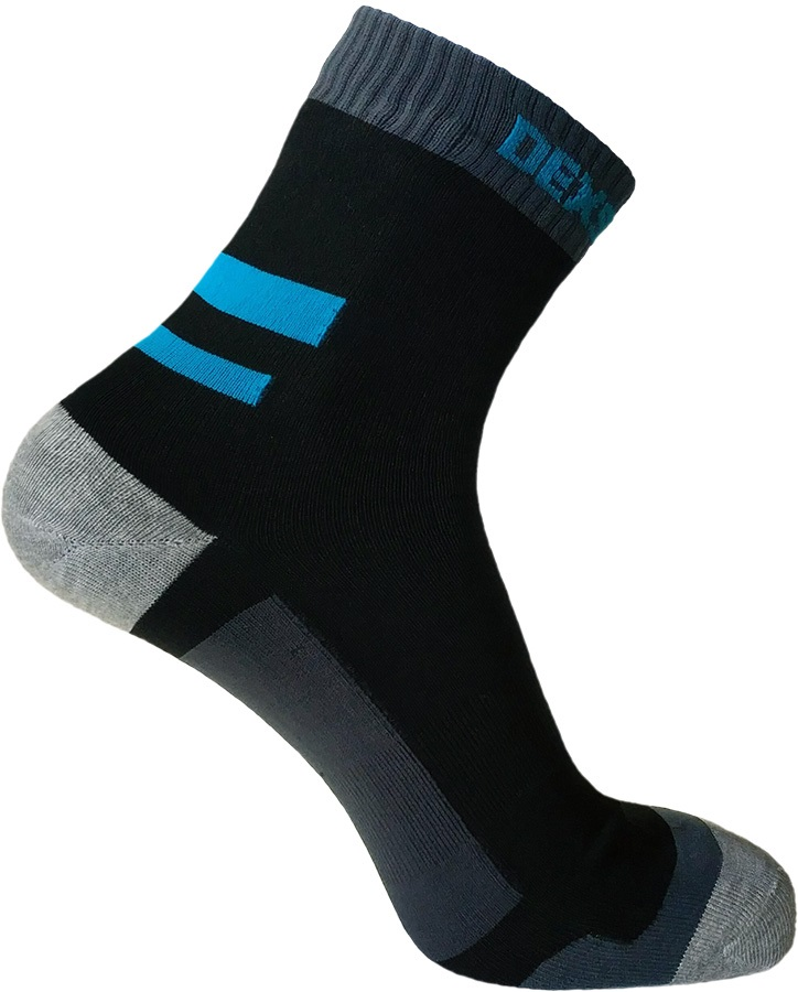 DexShell Running Waterproof Socks, UK 9-11 Black/Aqua Blue