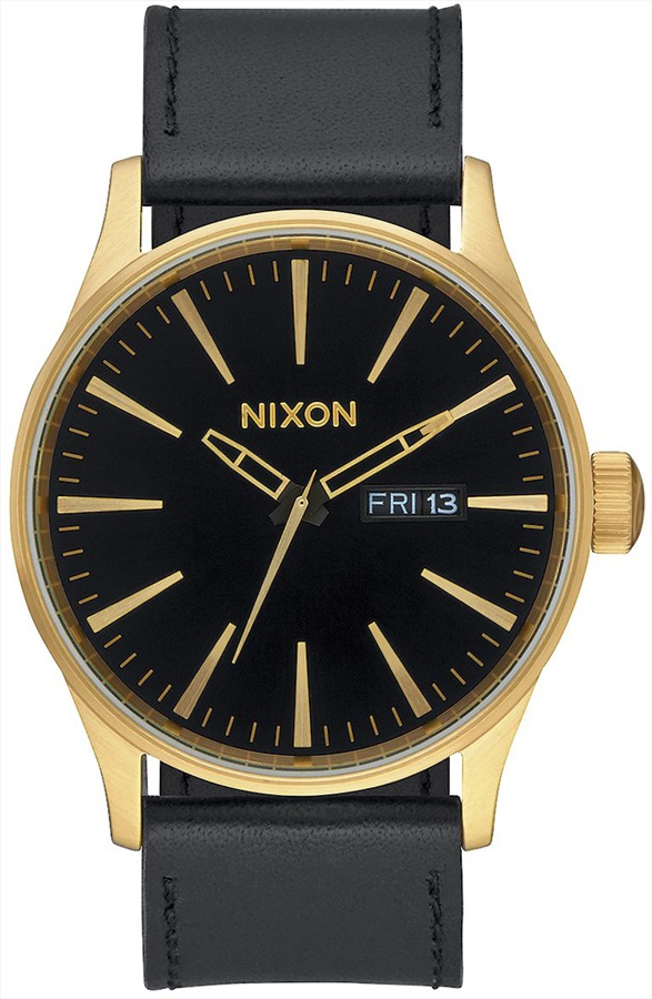 Nixon Sentry Leather Men's Wrist Watch, Gold/Black