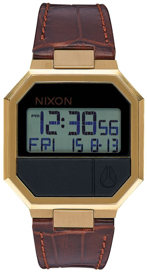 Nixon Re-Run Leather Men's Digital Wrist Watch, One Size, Brown Croc
