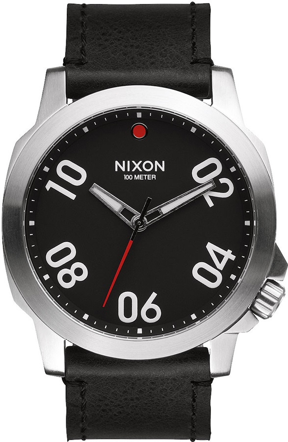 Nixon Ranger 45 Leather Men's Wrist Watch, Black/Red