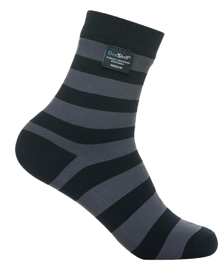 DexShell Ultra Lite Bamboo Waterproof Socks, UK9-11, Stripe Black/Grey
