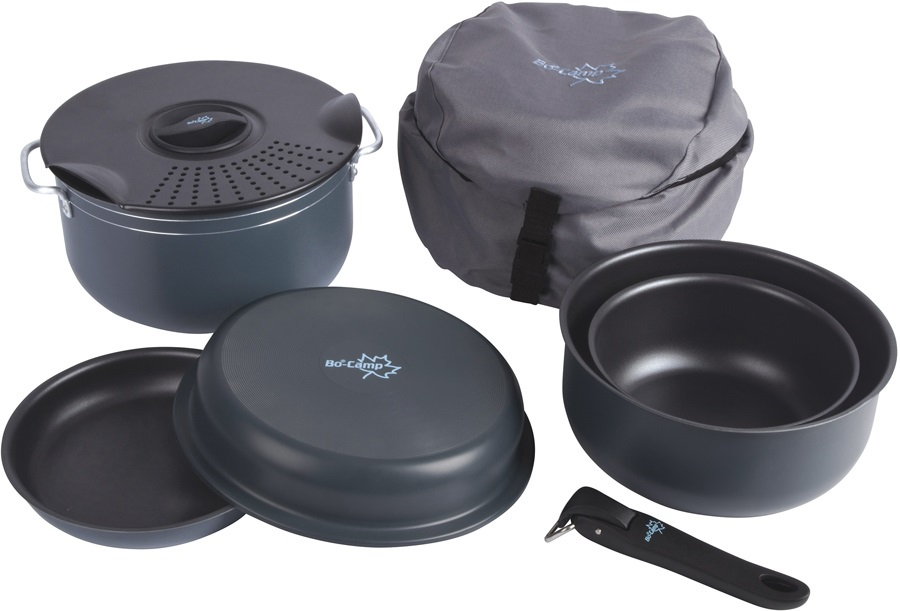 Bo-Camp Camping Cookware Set Lightweight Outdoor Cook Pots, 7 Pieces