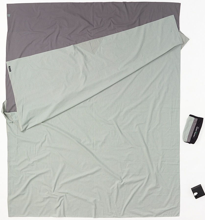 Cocoon TravelSheet Cotton Double Sleeping Bag Liner, Blue/Grey