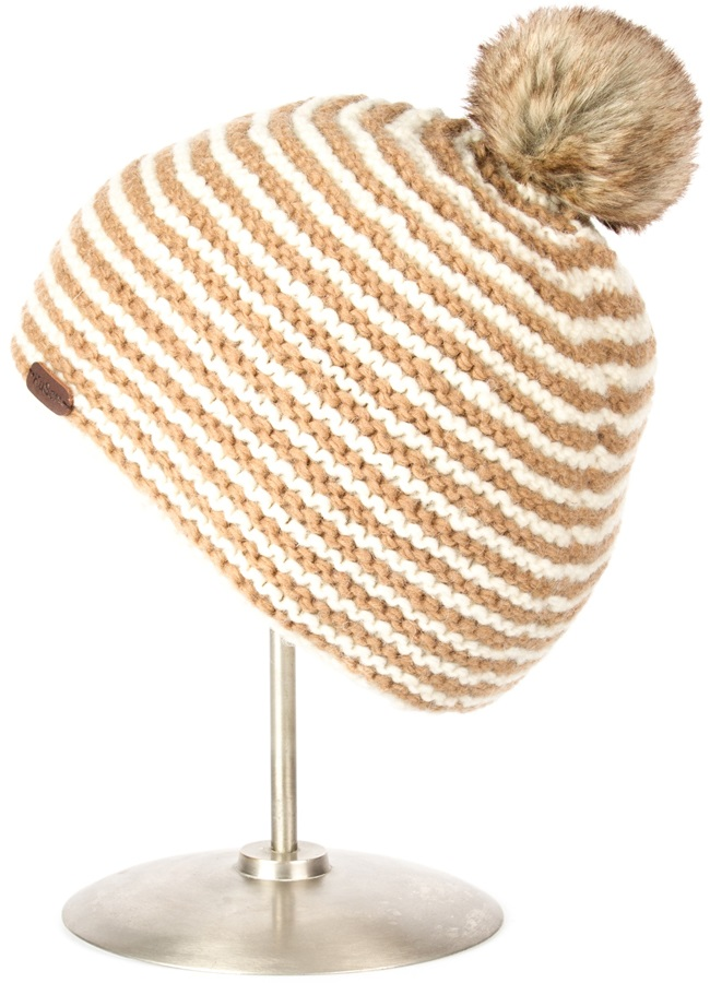 Kusan Reverse Knit Ski Bobble Hat, One Size, Sand, Faux Fur