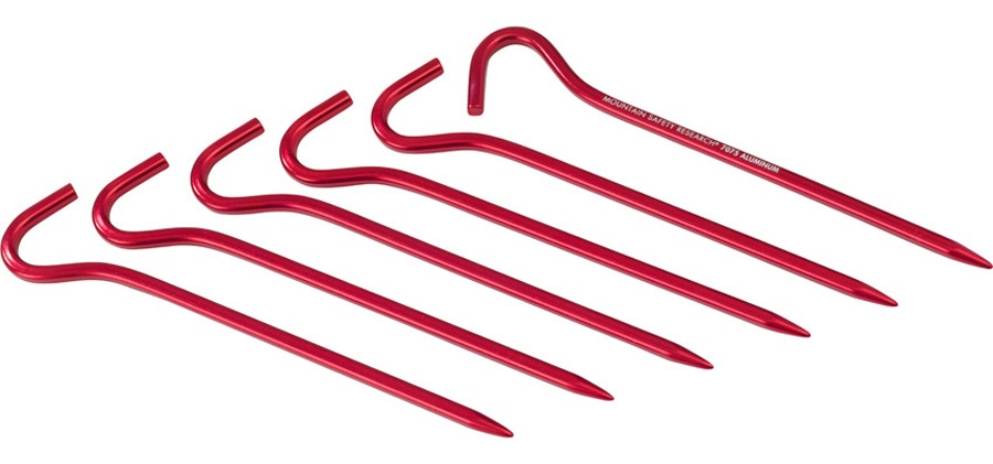 MSR Hook Tent Stakes Kit Camping Shelter Pegs, 17.5cm Red