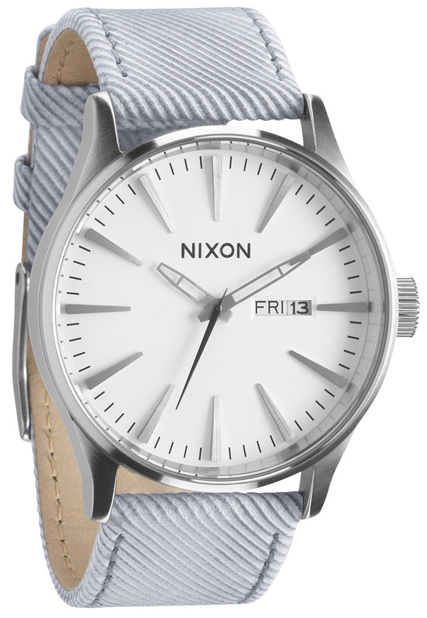 Nixon Sentry Leather Men's Wrist Watch, One Size, Pinstripe