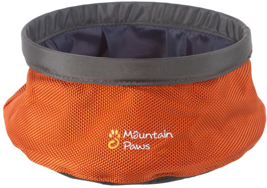 Mountain Paws Dog Water Bowl Portable Fold Away Travel, 17cm Orange