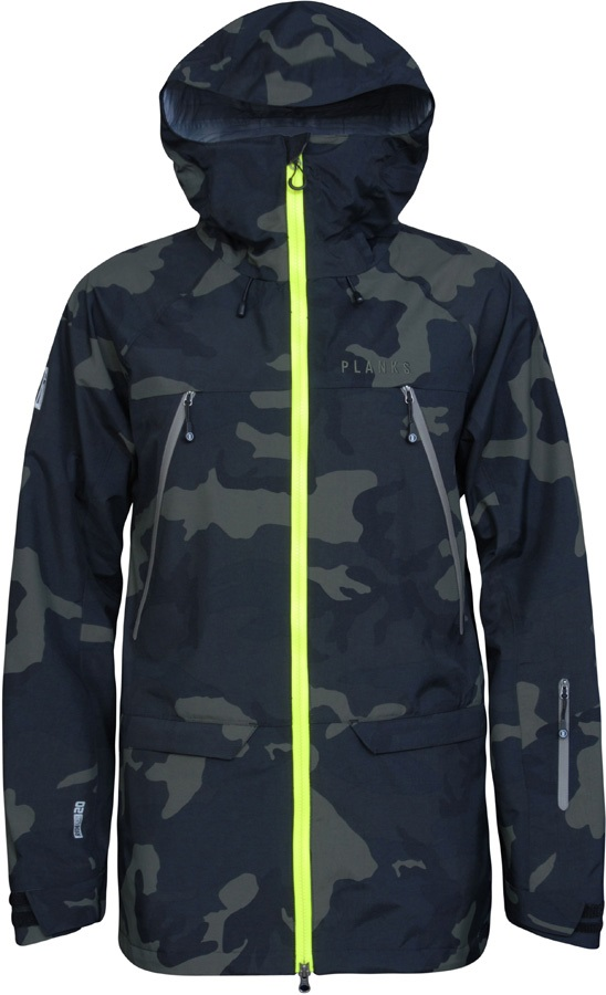 Planks Yeti Hunter 3L Snowboard/Ski Jacket, M Midnight Camo