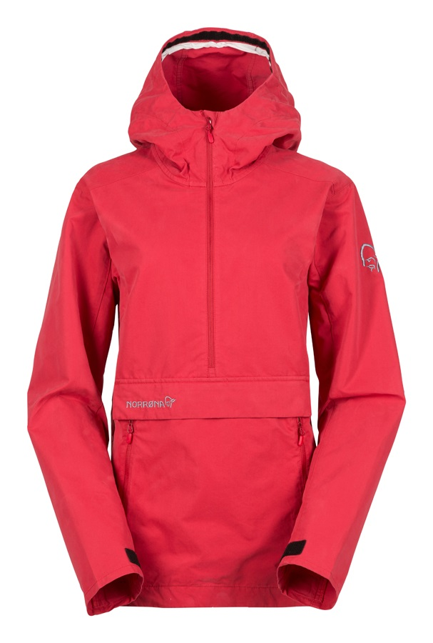 Norrona Svalbard Cotton Anorak Women's Windstopper Jacket UK 14 Red